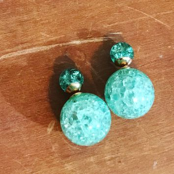 Double Sided Turquoise Glass Studs