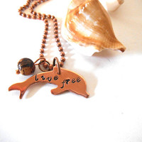 "Metal Stamped ""Live Free"" onto Copper Dolphin Necklace with Acai Seed Bead, Personalized Jewelry, Statement Jewelry"