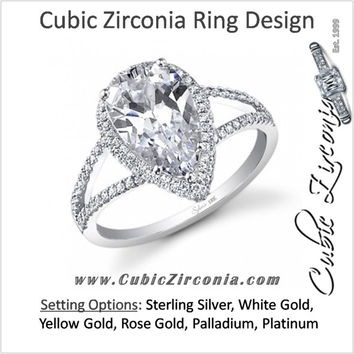 Cubic Zirconia Engagement Ring- The ________ Naming Rights 1268 (1.83 or 2.83 Carat Split Shank Pear Cut Halo Style with Ultrawide Band)