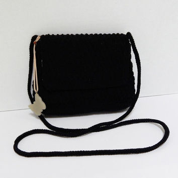 Vintage Liz Claiborne Cross body Bag, Black Crochet Purse