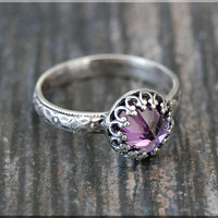 Amethyst Ring, February Birthstone Ring, Crown Bezel Ring, Sterling Silver gemstone Ring, Amethyst Stacking Ring, Flower Detail Shank Ring