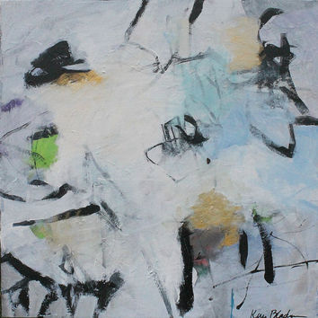 "Black and White Abstract on Canvas, Original Acrylic Painting, Expressionism, Intuitive, Gestural ""Flurries"""