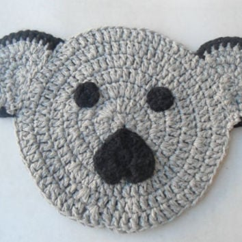 Crochet Bear Hot Pad Mat Animal bear coaster Housewarming Gift handmade Bear Pot Holder, Crochet Trivet, Cotton Kitchen Decor