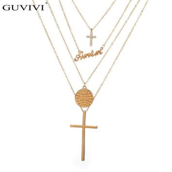 Fashion Multilayer Geometry Round Long Chain Cross Pendant Necklace Women Bohemian Necklace Catholic Religious Christian Jewelry