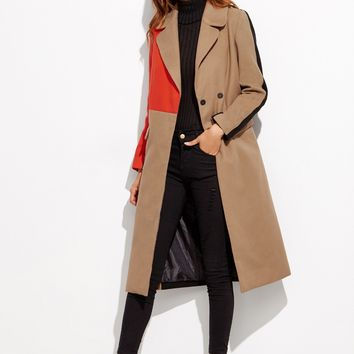 Camel Colorblock Double Breasted Coat