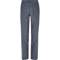 River Island MensBlue Holloway Road linen-blend suit pants