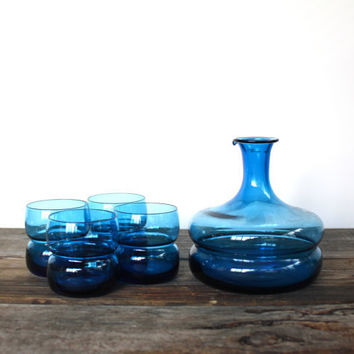 Vintage Retro Blue Bar Set by vntagequeen on Etsy