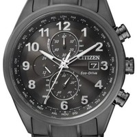 CITIZEN ECO-DRIVE BLACK RADIO CONTROLLED SAPPHIRE CHRONOGRAPH WATCH AT8018-56E