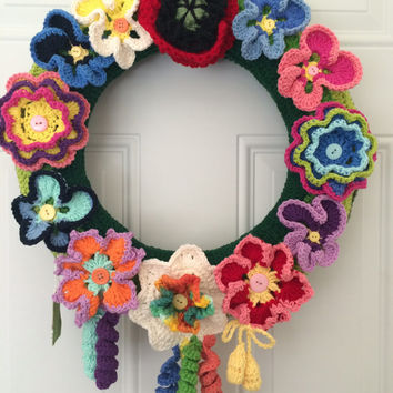 Easter spring door wreath hand made crocheted wreath originally designed beautiful combinations of colors 100% bright cotton yarn decorative