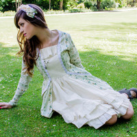 Romantic dress green and ivory