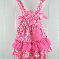 #11 Baby Ruffle Swing Set Sun Suit Hot Pink Damask