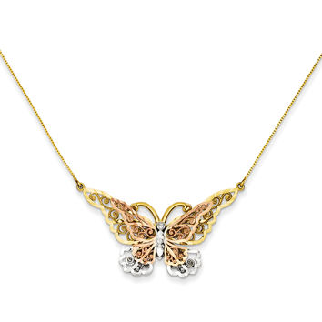 14k Yellow & Rose Gold w/ Rhodium Butterfly Necklace SF2042