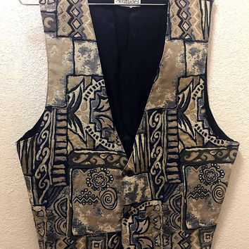 Vintage 1980s 80s Men's / Unisex Vest by ATTITUDES for I.T. Ties, retro abstract batik geometric fashion tuxe formal wear navy blue tan grey