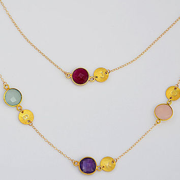 Double Strand Personalized bezel set station gold necklace - Danique Birthstone - Initial, handstamped, mother, mom, grandma, four kids