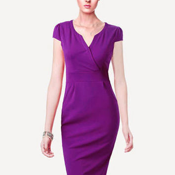 Purple Cap Sleeve Bodycon Midi Dress