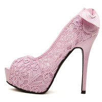 Hollow Out High Heel Korean Sweets Peep Toe Butterfly Lace Candy Shoes = 4814699652