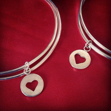 Custome Sterling silver charm bangle bracelet heart, travel