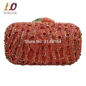 Stylish Red Women Rhinestone Evening Bag Luxury Crystal Studded Diamante Designer Clutches Evening Party Purse Ladies Bag 88270
