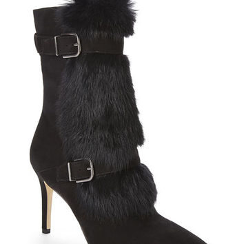 Via Spiga Black Fur Leather Boots