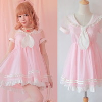 Cute Girls Princess Dolly Lolita Kawaii Party Sweet crew neck Dress + Tie Pink
