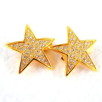 Vintage Joan Rivers Rhinestone Star Clip Earrings