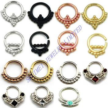 1 Pcs Titanium Plated Tribal CZ Gem Copper Clicker Nose Septum Studs Ring Jewelry Piercing New