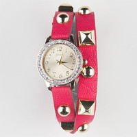 Pyramid Stud Wrap Watch Hot Pink One Size For Women 21931035101