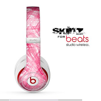 The Subtle Pink Watercolor Strokes Skin for the Beats by Dre Studio Wireless Headphones