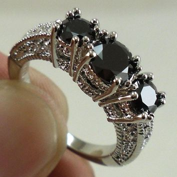 New Brand Jewelry 925 Sterling Silver Black Sapphire Wedding Engagement Ring