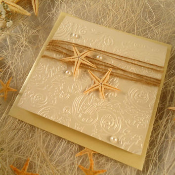 Starfish Wedding Invitation Destination from EstudioDePapel on