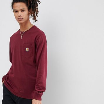 Carhartt WIP Long Sleeve Pocket T-Shirt In Red at asos.com