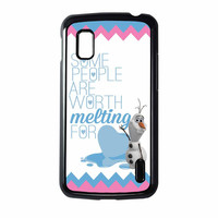 Olaf Quote Melting The Disney Frozen Pink Blue Chevron Nexus 4 Case