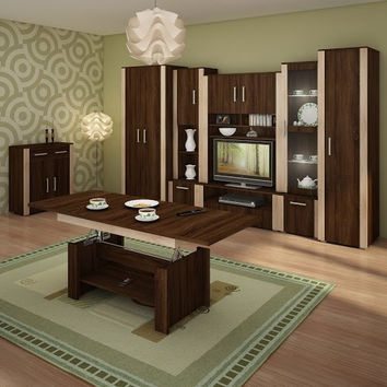 Modern Living Room Furniture Set 1 ''Notti'' Cabinets, TV Stand, Wardrobe