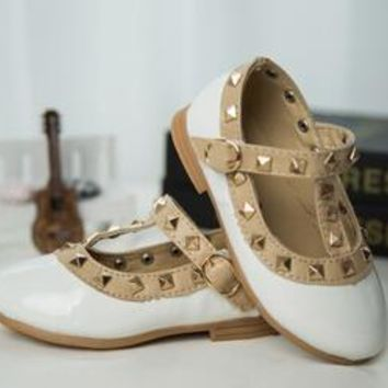 Baby Girl Shoes Patent Leather with Stud Grommets