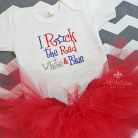 Baby Girls 4th of July Onesuit and Tutu Set - Patriotic - Baby Shower Gift - Summer - Red White and Blue - Fourth - Independence Day