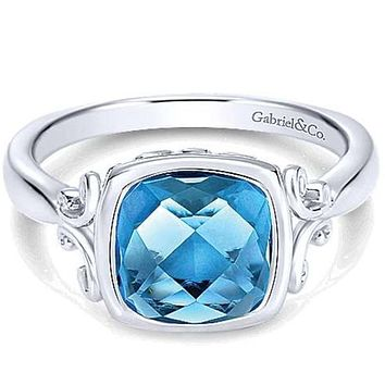 Gabriel Sterling Silver Cushion Shaped Blue Topaz Ring