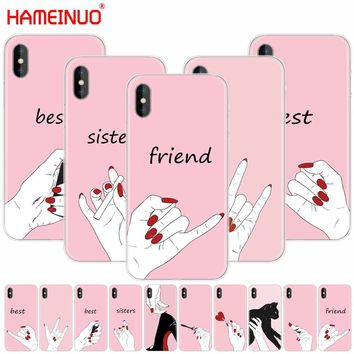 HAMEINUO best friend and best sisters cell phone Cover case for iphone X 8 7 6 4 4s 5 5s SE 5c 6s plus