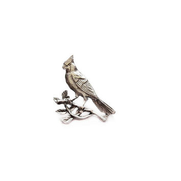 Pewter Blue Jay Pin, Silver Bird