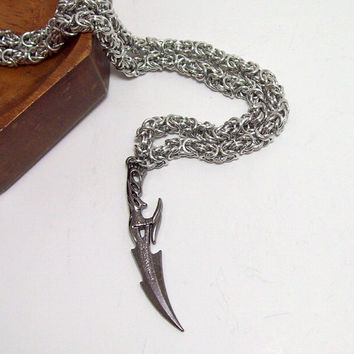Mens necklace, Final Fantasy, FF13, mens jewelry, chainmaille necklace, sword, video game, geekery, geek, gamer.