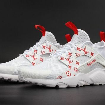 PEAPONVX Jacklish Supreme X Nike Air Huarache Run Ultra White Red For Sale
