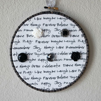 Necklace And Bracelet Hanger Wood Hoop Decor, Black And White Writing Fabric