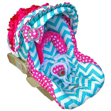 Custom baby car seat cover in chevron print