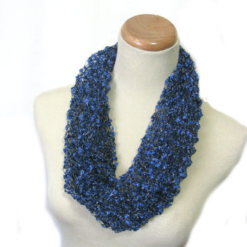 Royal Blue Cowl, Knit Scarf, Hand Knit Cowl, Circle Scarf, Loop Scarf, Cowl, Fashion Scarf, Womens Scarf, Spring Scarf,
