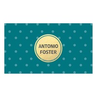 Turquoise Gold Circle White Polka Dots Designer Business Card