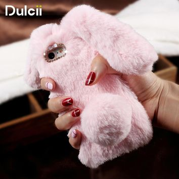 DULCII for iPhone 7 Plus 6s 6 Plus Case 5s 5 SE Rabbit Bunny Soft Furry Cute Phone Cover for iPhone 6s Plus Coque iPhone5 Coque