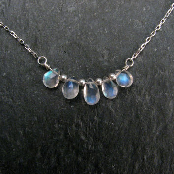 "Rainbow Moonstone Necklace in Sterling Silver - Delicate Jewelry Pendant Necklace - 15 -16"" Layering Necklace"