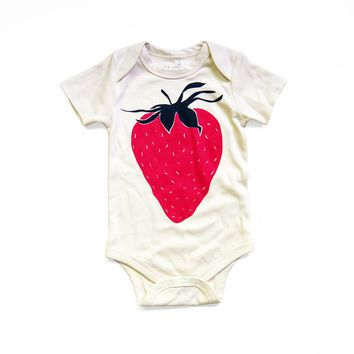 Strawberry Organic Baby Bodysuit in Natural