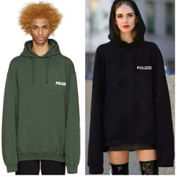 2017 sweatshirt oversized Green Po lizei 16ss Embroidered hoodie with letters men women hiphop hoodies streetwear urban clothes