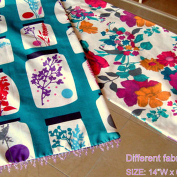 Reversible 14x64 table runner – Fringe beads table decor