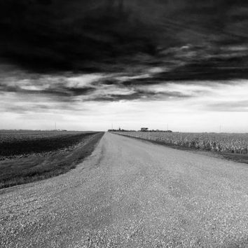 Storm Road -Black and White Rural American Photograph -North Dakota